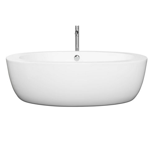 Wyndham Collection Uva 69 inch Freestanding Bathtub in White with Floor Mounted Faucet