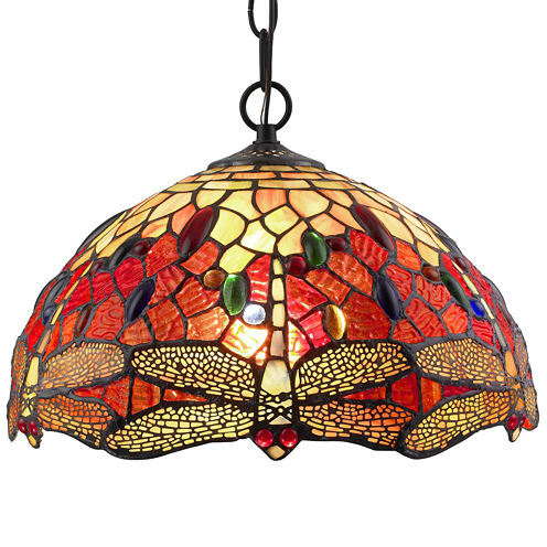 Amora Lighting AM1034HL14 Tiffany Style DragonflyHanging Lamp 2 light