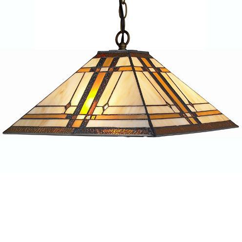 Amora Lighting AM1053HL14 Tiffany Style Mission 2-light Hanging Lamp