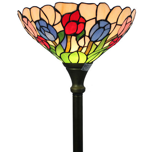 Amora Lighting AM1055FL14 Tiffany Style Tulips Torchiere Lamp 70 Inches Tall