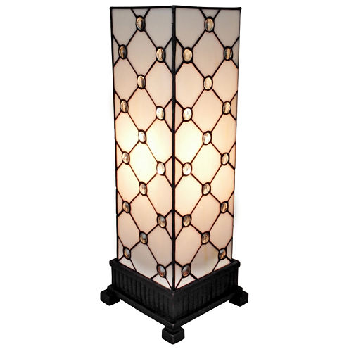 Amora Lighting AM105TL06 Tiffany Style Table LampWhite JEWEL 18 In