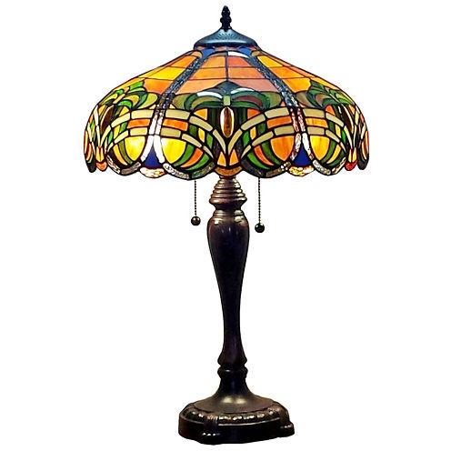Amora Lighting AM1071TL16 Tiffany Style 2-light 25-inch Baroque Table Lamp