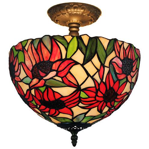Amora Lighting AM1087HL12 Tiffany Style SunflowerCeiling Lamp