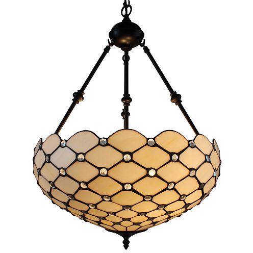 Amora Lighting AM1117HL18 Tiffany Style Ceiling Hanging Pendant Lamp 18-Inch 2 Lights