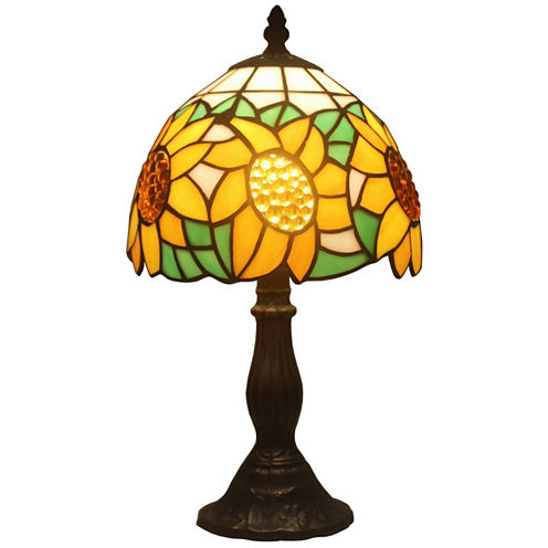 Amora Lighting AM118TL08 Tiffany Style Sunflower Table Lamp 15 Inches High