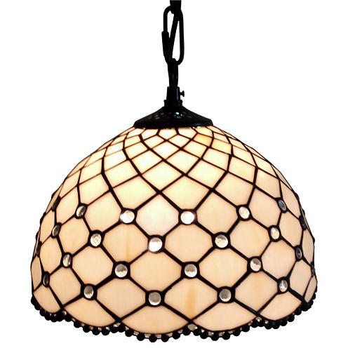 Amora Lighting AM119HL12 Jewel Tiffany Style Hanging Lamp 12 In