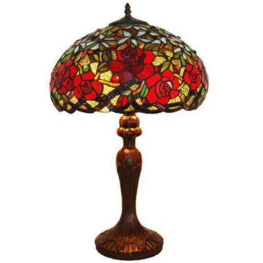 jcpenney.com | Amora Lighting AM1535TL16 Tiffany Style Red RosesTable Lamp 24 In