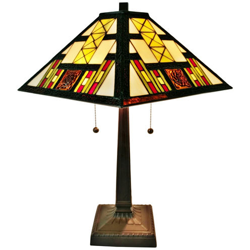Amora Lighting AM201TL14 Tiffany Style Multicolored Mission Table Lamp 21 inches