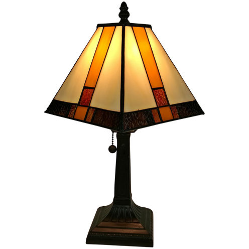 Amora Lighting AM208TL08 Tiffany Style Multicolored Mission Table Lamp 15 inches