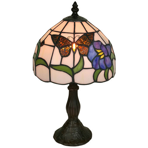 Amora Lighting AM210TL08 Tiffany Style Butterfly Finish Table Lamp 20 inches