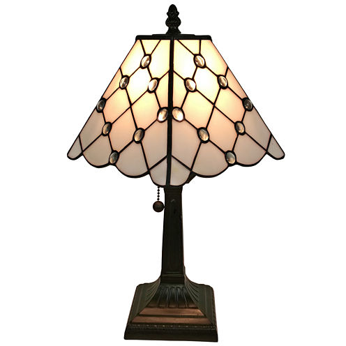 Amora Lighting AM213TL08 Tiffany Style Jeweled Finish Mission Table Lamp 15 inches