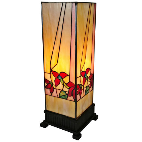 Amora Lighting AM217TL06 Tiffany Style Floral Finish Table Lamp 15.7 inches