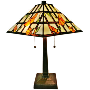 jcpenney.com | Amora Lighting AM218TL14 Tiffany Style Floral Finish Mission Table Lamp 21 inches