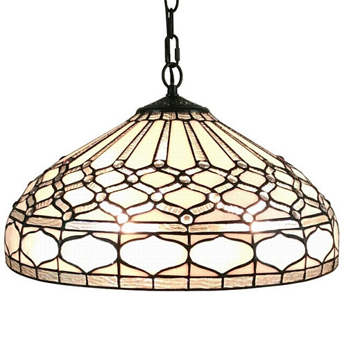 Amora Lighting AM221HL18 Tiffany style royal whitehanging lamp 18 in wide