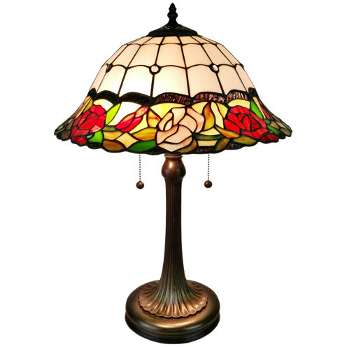 Amora Lighting AM229TL16 Tiffany Style Floral Finish Table Lamp 23 inches
