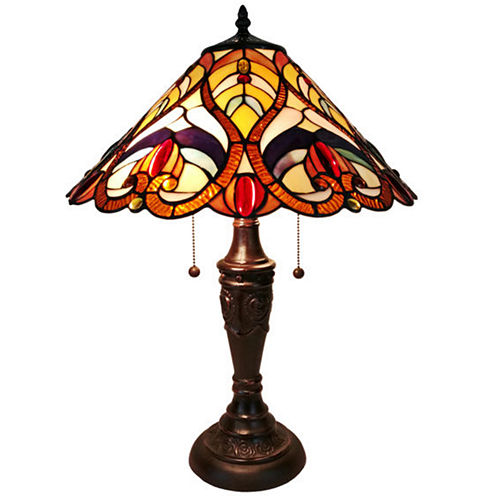 Amora Lighting AM233TL16  Tiffany Style VictorianFinish Table Lamp 24 inches