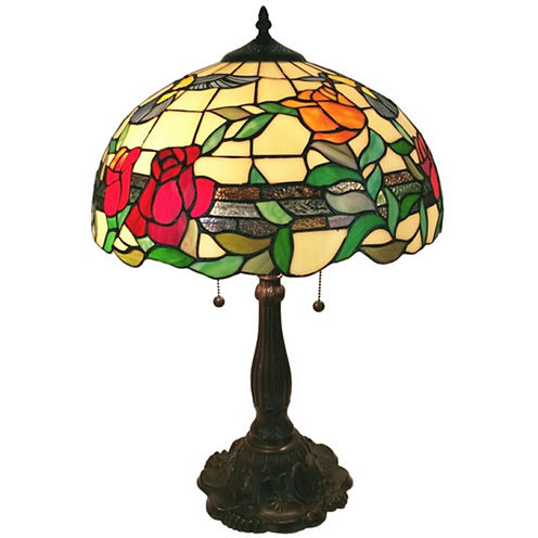 Amora Lighting AM234TL16 Tiffany Style Floral Finish Table Lamp 24 inches