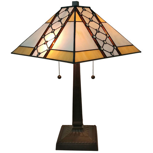 Amora Lighting AM237TL14 Tiffany Style Multicolored Mission Table Lamp 21 inches