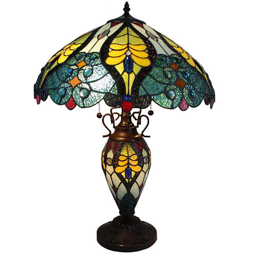 Amora Lighting AM005TL18 Tiffany Style Floral Table Lamp Double Lit Lighted Base