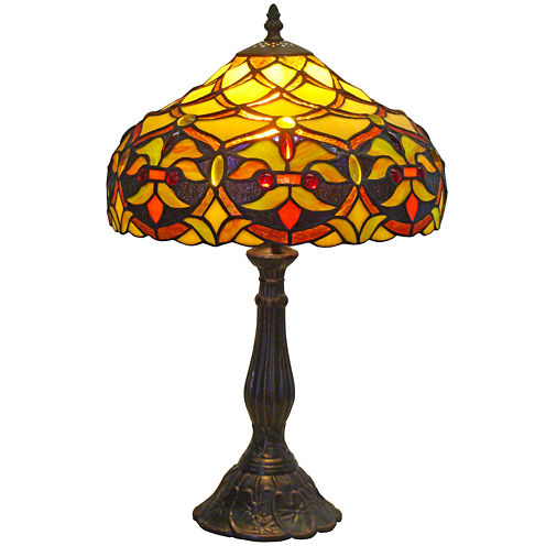 Amora Lighting AM008TL12 Tiffany Style Floral Design 19-Inch Table Lamp