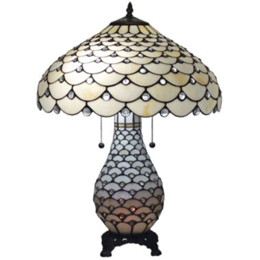 jcpenney.com | Amora Lighting AM010TL18 Tiffany Style Jeweled Double Lit Table Lamp 3 Light 18-Inch Wide