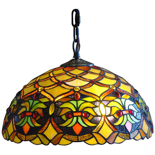 Amora Lighting AM015HL12 Tiffany Style Floral Ceiling Hanging Lamp 14-Inch Wide 2 Light