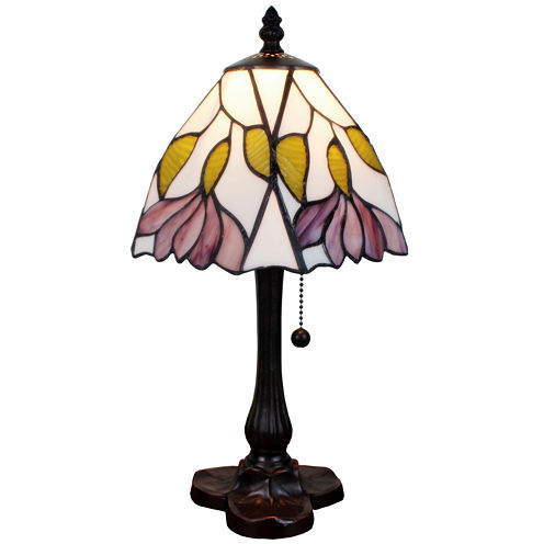 Amora Lighting AM016TL08 Tiffany Style 15.5-inch Floral Mini Table Lamp