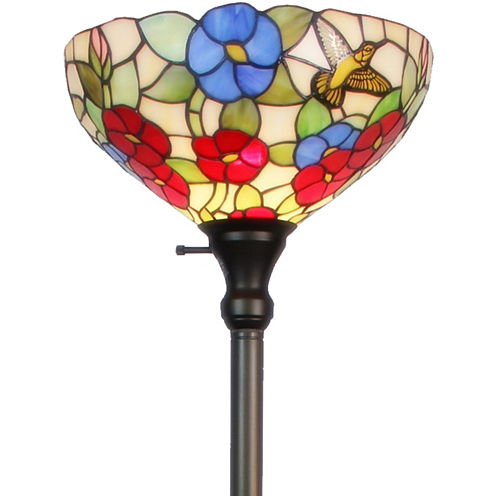 Amora Lighting AM022FL14 Tiffany-style Hummingbirds Floral Torchiere Floor Lamp 70 Inches Tall