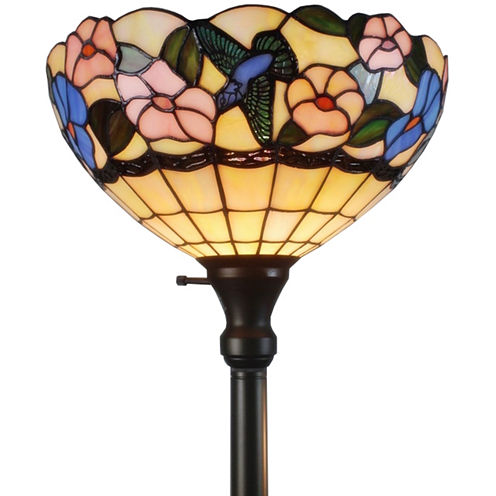 Amora Lighting AM023FL14 Tiffany-style Hummingbirds Floral Torchiere Floor Lamp 70 Inches Tall