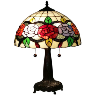 jcpenney.com | Amora Lighting AM032TL14 Tiffany Style Floral 20-inch Table Lamp