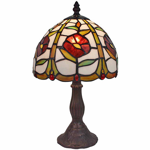 Amora Lighting AM039TL08 Tiffany Style 14.5-inch Floral Mini Table Lamp