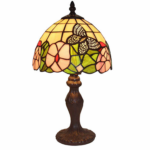 Amora Lighting AM042TL08 Tiffany Style Floral MiniTable Lamp 15 In