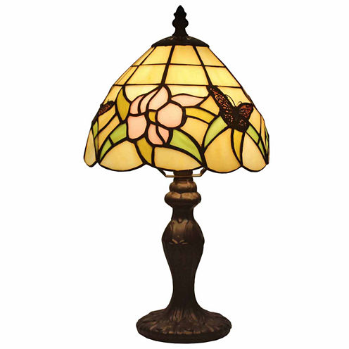 Amora Lighting AM044TL08 Tiffany Style Floral MiniTable Lamp 15 In