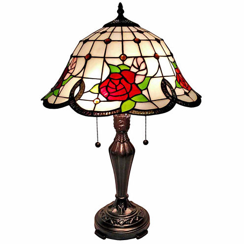 Amora Lighting AM045TL16 Tiffany Style Roses TableLamp 24 In