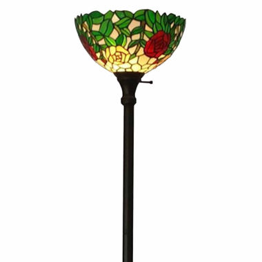 jcpenney.com | Amora Lighting AM051FL14 Tiffany Style Roses FloorTorchiere Lamps 72 Inches Tall