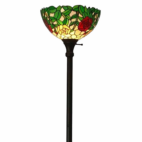 Amora Lighting AM051FL14 Tiffany Style Roses FloorTorchiere Lamps 72 Inches Tall