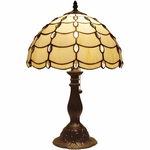 Amora Lighting AM052TL12 Tiffany Style Cascade Table Lamp 19 In