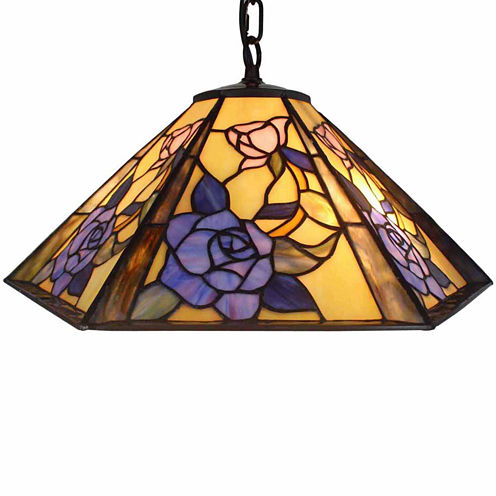 Amora Lighting AM053HL18 Tiffany Style Hanging Lamp 18 In