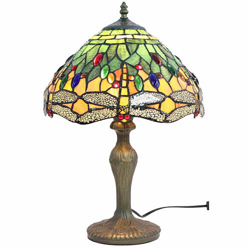 Amora Lighting AM1024TL12 Tiffany Style DragonflyDesign Table Lamp 18 In