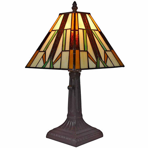 Amora Lighting AM100TL08 Tiffany style Mission table lamp 15.5 Inches High
