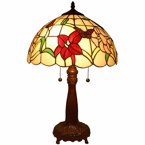 Amora Lighting AM063TL14 Tiffany Style Floral Table Lamp 22 Inches Tall