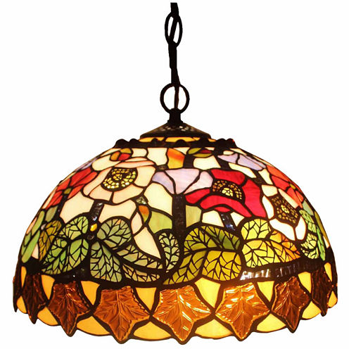 Amora Lighting AM065HL14 Tiffany Style Floral Design Hanging Lamp 2 Light