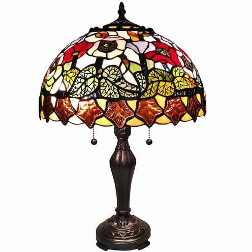 Amora Lighting AM066TL14 Tiffany Style Poppies Table Lamp 14 Inches Wide