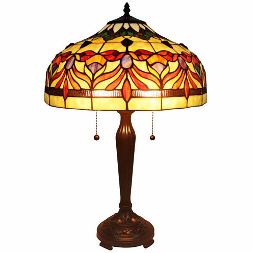 Amora Lighting AM067TL16 Tiffany Style Floral Table Lamp 24 In