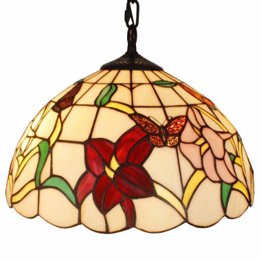 jcpenney.com | Amora Lighting AM077HL14 Tiffany Style Floral Hanging Lamp 14 Inches