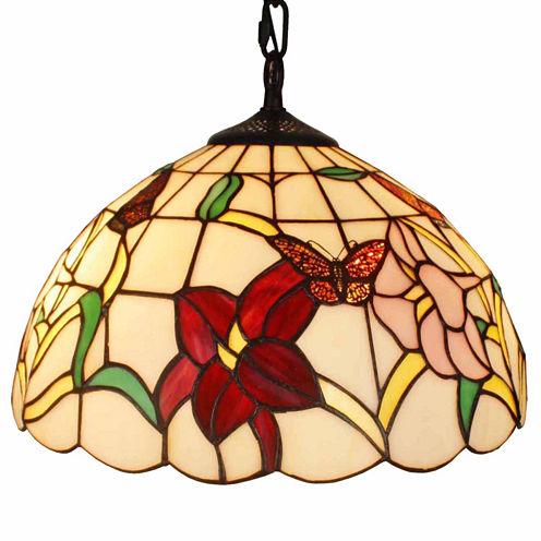 Amora Lighting AM077HL14 Tiffany Style Floral Hanging Lamp 14 Inches