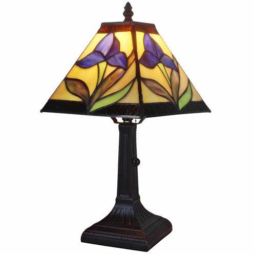 Amora Lighting AM078TL08 Tiffany Style Mission Design Mini Table Lamp Purple