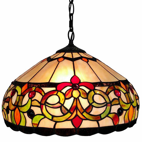 Amora Lighting AM080HL16 Tiffany Style Floral Hanging Lamp 16 Inches