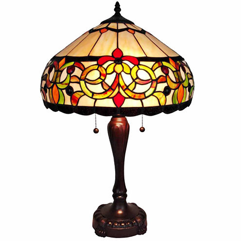 Amora Lighting AM081TL16 Tiffany Style Floral Table Lamp 24 Inches Tall
