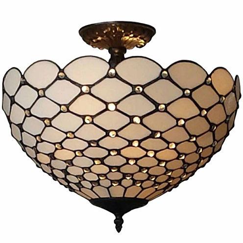 Amora Lighting AM086CL16 Tiffany-Style Jewel 2-Light Semi-Flush Ceiling Fixture 16-Inch